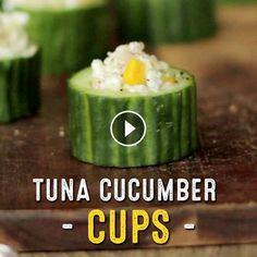 Tuna Cucumber Cups - Ingredients: cucumber, tuna, cottage cheese, sweet corn & black pepper | Good For You