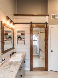 Modern Farmhouse Bathroom Before & After - Irwin Construction Rustic Bathroom Vanities, Modern Farmhouse Bathroom, Wood Bathroom, Diy Bathroom Decor, Bathroom Styling, Bathroom Interior, Small Bathroom, Master Bathroom, Bathroom Ideas