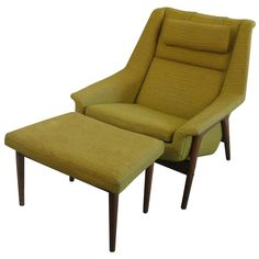 Mid-Century Swedish Lounge Chair and Ottoman with DUX Label | From a unique collection of antique and modern lounge chairs at https://www.1stdibs.com/furniture/seating/lounge-chairs/