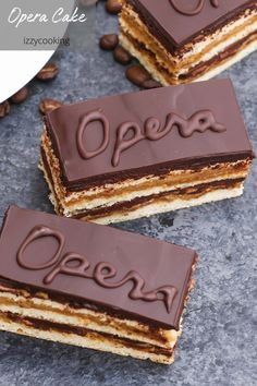 Opera Cake is a classic French dessert combining layers of almond sponge cake soaked in coffee Chocolate Glaze, Decadent Chocolate, Chocolate Desserts, Melting Chocolate, Make Ahead Desserts, Desserts For A Crowd, Fancy Desserts, Cake Recipes, Dessert Recipes