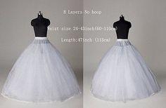 Women White 8 Layers No Hoop Petticoat Underskirts Crinoline Slips Wedding Skirt