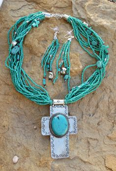 Cowgirl Bling Santa Fe Silver CROSS Turquoise Indian style Bead necklace set #tres