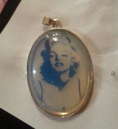 antiqued Marilyn   [M M] pendant by ninasoriginals on Etsy