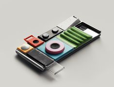 A modular smartphone. Lapka's early design mock-up for Project Ara (on-device packet-switched data network). Google.