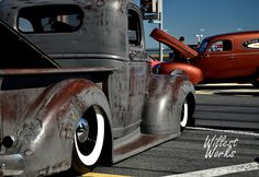 Ford pickup truck ratrod truck slammed laid out on white wall tires wrapped around gloss black wheels and topped with a patina original paint job. Bagged Trucks, Jacked Up Trucks, Hot Rod Trucks, Cool Trucks, Classic Pickup Trucks, Ford Pickup Trucks, Truck Paint Jobs, Hot Rod Pickup, Patina Paint