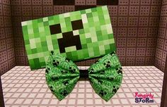 Mine Craft Creeper  geeky gamer Hair bow or Bow tie unique fabric bow on Etsy, $6.75