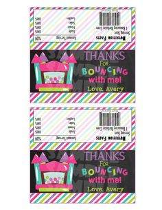 Printable BOUNCE HOUSE Candy Bar WRAPPERS by ShinySparklyParties