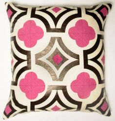 Pink pillow! bet you could paint this design on cheap muslin pillow or even dollar gen pillow. take stuffing out an slide in cardboard and paint!