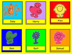 Cloakroom name tags - Mr Men themed labels, ideal for coat pegs.