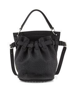 V21D6 Alexander Wang Diego Rivet Flat-Bottom Lambskin Bucket Bag, Black