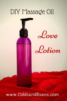 This easy DIY massage oil recipe is sure to please! Make your own homemade love lotion to enhance the power of touch with aphrodisiac aromas. www.OddsandEvans.com