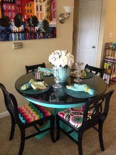 like the high gloss black top - Turquoise and black dining table by Bon Mallette & A DIY girl with a blog | Dining room table Room and Black