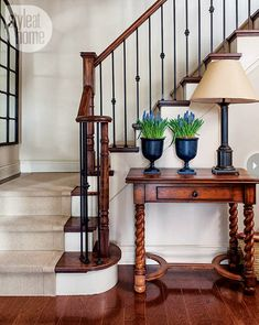 Step up your decor with a beautiful staircase makeover! Check out these swoonworthy staircase makeover ideas featuring stenciled and painted staircases. Wrought Iron Staircase, Metal Stairs, Staircase Railings, Banisters, Staircase Design, Front Stairs, Entryway Stairs, Iron Balusters, Staircase Ideas