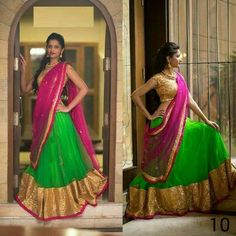 Bold & Beautiful #Lehenga in green, pink & gold