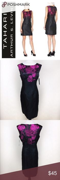 "TAHARI ARTHUR LEVINE DRESS SZ12 Gorgeous NWT Tahari by Arthur Levine black dress with metallic flower design. Brand new with tags, stunning! Please not the zoom front picture there's part of the pink thread that goes across the front, don't know if this is part of the design. Is incredibly unnoticeable but I'm very picky with listings. Perfect to wear in a cocktail party or a wedding! Approx measurements on flat: Bust 19.5-19.8"" waist 18"" length from top shoulder to bottom 37.8-38"" love it?…"