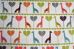 Organic Cotton By Birch - Safari Soiree - Giraffes - 1/2 Yard. $12.00, via Etsy.