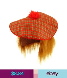 a14cb725d10 Accessories Tam O shanter Scottish Hat With Hair Scotland Burns Night Scots  Rugby  ebay