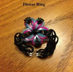 """Created this Flower Ring by using... """"Made By Mommy's Mini Cross Band Charm"""" Tutorial"""