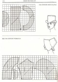 Come fare una tuba/modelloPattern of Hatchapeus masc e femGentleman and ladies hat and bonnet pattern! Good for Thanksgiving Pilgrims. Costume Patterns, Doll Clothes Patterns, Doll Patterns, Vintage Patterns, Clothing Patterns, Sewing Patterns, Sewing Hacks, Sewing Tutorials, Sewing Projects