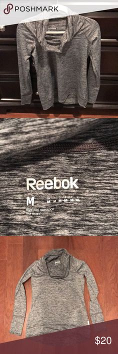 Reebok cowl neck grey medium running shirt You are bidding on a size medium Reebok gray Calmac running shirt. Worn two times but not to run. Made from 89% polyester and 12% spandex. Machine wash cold. Great shirt, just not my style. Has them holes in the sleeves to keep sleeves in place. No rips stains or tears. Pet free and smoke free home. Reebok Tops Tees - Long Sleeve