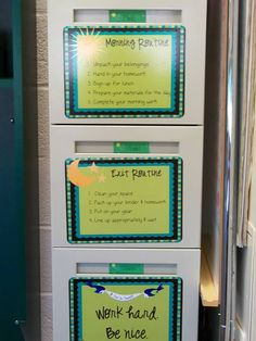 morning routine / exit routine. Cute idea, pictures needed for Kindergarten