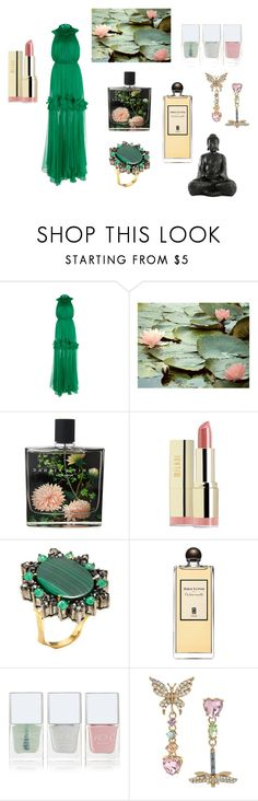"""""""Serene Green"""" by harpgoddess ❤ liked on Polyvore featuring Maria Lucia Hohan, Nest Fragrances, Milani, Artisan, Serge Lutens, Nails Inc. and Betsey Johnson"""
