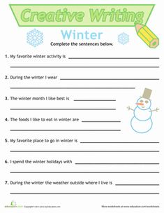 Sentence Writing: Winter | Worksheet | Education.com