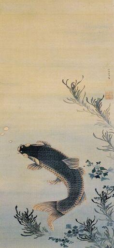 ITO Jakuchu (1716-1800), Japan 伊藤若冲. Carp