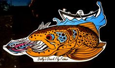 THE DRIFTER BROWN DECAL _ New Fish Logo, Brown Trout, Red Fish, Fly Fishing, Decals, Trout, Tags, Sticker, Decal