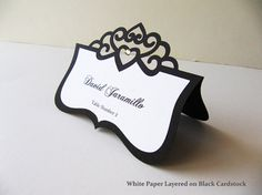 Black and White Layered Tiara Die Cut Seating Card/Place Card, Name Printing Included