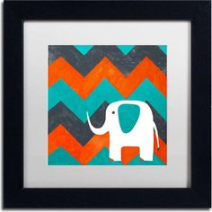 Trademark Fine Art Elephant on Chevron Canvas Art by Nicole Dietz, White Matte, Black Frame, Size: 11 x 11