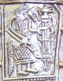 Gutenstein scabbard, found near Sigmaringen, Baden-Württemberg, Germany. It shows a warrior in wolf costume holding a ring-sword - in offering to Wodan. Sigmaringen is a town in southern Germany, in the state ofBaden-Württemberg Roman History, European History, Ancient History, War Band, Wolf Warriors, Merovingian, Wolf Costume, Germanic Tribes, Nordic Tattoo