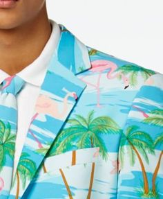 OppoSuits Men's Flaminguy Slim-Fit Tropical-Print Suit & Tie - Misc. 44