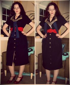 Craft, Thrift, or Die: Make this Nautical and Pin-up Style; take one. Nautical dress, vintage, thrift store fashion, refashion