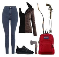 """Apocalyptic"" by amber2001 ❤ liked on Polyvore featuring Topshop, Twenty, JanSport, NIKE, Gerber and Sounds Like Home"