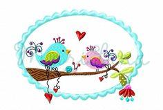 Stickdatei  ♥  Birds in Love ♥  Button 13x18 von ✿   MariLena Stoffzaubereien   ✿ auf DaWanda.com