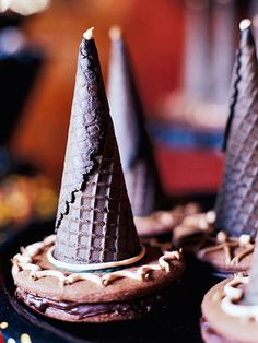 Super-easy Chocolate Witch Hats from ice cream cones and cookies.