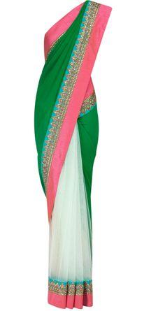 Brazil green half net half georgette sari by SABYASACHI. Shop at https://www.perniaspopupshop.com/whats-new/sabyasachi-28