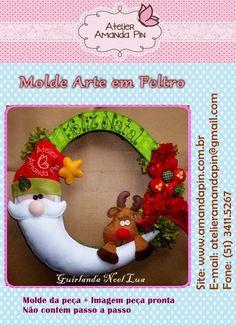 MOLDE Arte em Feltro Pode ser adaptado perfeitamente para trabalhos com E.V.A. Entre no link abaixo e veja a adaptação para o E.V.A: http://amandapin.com.br/2011/10/bota-natal-refeita/ R$15,00
