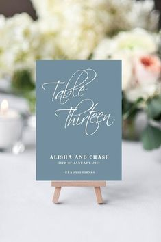 Dusty Blue Table numbers printable slate wedding table