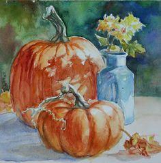 """Fall Mums and Pumpkin"" - Original Fine Art for Sale - © Carlene Dingman Atwater fall art Mums In Pumpkins, Painted Pumpkins, Fall Pumpkins, Pumpkin Art, Pumpkin Painting, Learn Watercolor Painting, Fall Mums, Let's Make Art, Creepy Halloween Decorations"