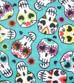 Snuggle Flannel Fabric- Sugar Skulls, , hi-res