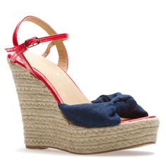 A Devoted American favorite-- an espadrille wedge showing off her best red and blue.