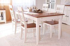 Essgruppe 140cm Gotland - Esstisch & 6 Stühle - Pinie massiv - cremeweiß - gebeizt & lackiert