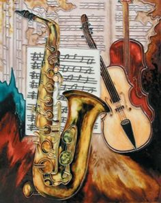 """Violins / Saxophone / Music Note - Decorative Ceramic Art Tile - 11""""x14"""" by entiles.com. $47.99. Tile can also be used as a decorative hot plate. Hang on the wall using provided hooks. We make every effort to process your order within 24 hours & FREE Gift Box Included with purchase. Backing is removable enabling the tile to be installed as a standard tile. Hand crafted art tile, then kiln-fired at high temperature?brilliantly colored, with complex glazes and unique t..."""