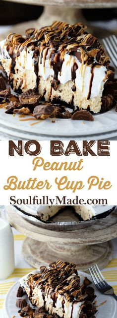 No Bake Peanut Butter Cup Pie – this easy no bake peanut butter butter cup cheesecake filling is creamy, fluffy, chocolaty and a peanut butter lovers dream. #peanutbutterpie #peanutbutter #pie