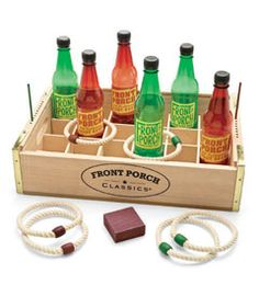 ring toss game - copy it with spray painted beer bottles & coke crate??