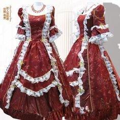 Freeship Renaissance Victorian Gothic/Marie Antoinette/civil war/Colonial Southern Belle Ball Gown Dress Sz US 6-26 XS-6XL GT005