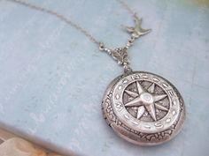 silver locket necklace, compass locket - GUIDANCE - antiqued silver plated…