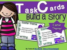Build a Story Task Cards {12 cards with sentences for sorting}. Easter theme. Freebie. The cards correlate with the following Common Core standards / Australian KLA's & ESL in Grades 3,4 & 5.